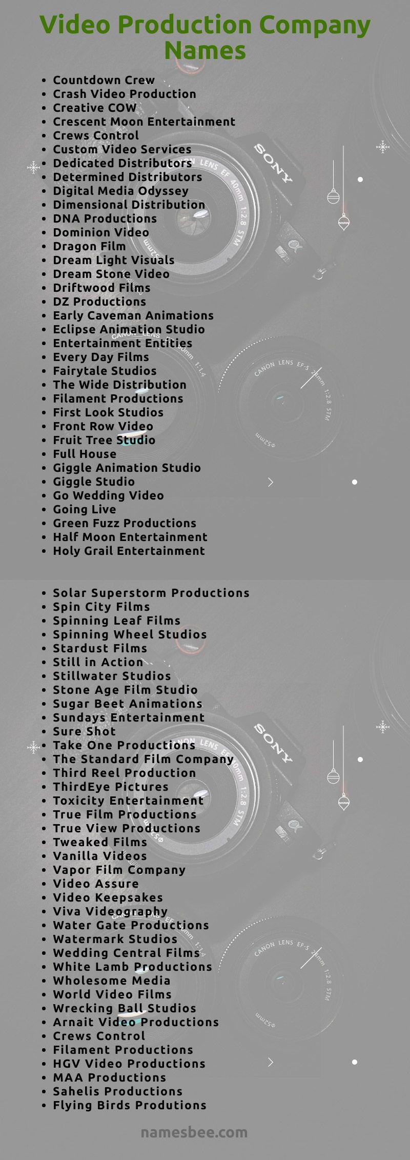 300 Video Production Company Names Ideas Video Production Company Video Editing Studio Production Company