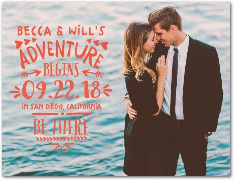 Adventure Together Save the Date Postcards in Rich Black or White