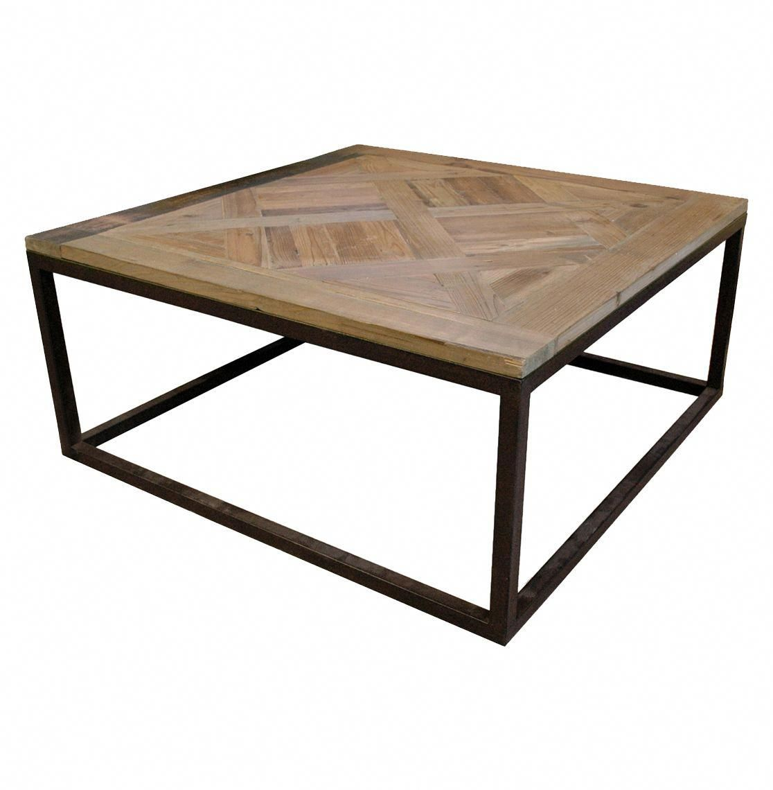 Gramercy Modern Rustic Reclaimed Parquet Wood Iron Coffee Table With Images Coffee Table Wood Iron Coffee Table Rustic Coffee Tables