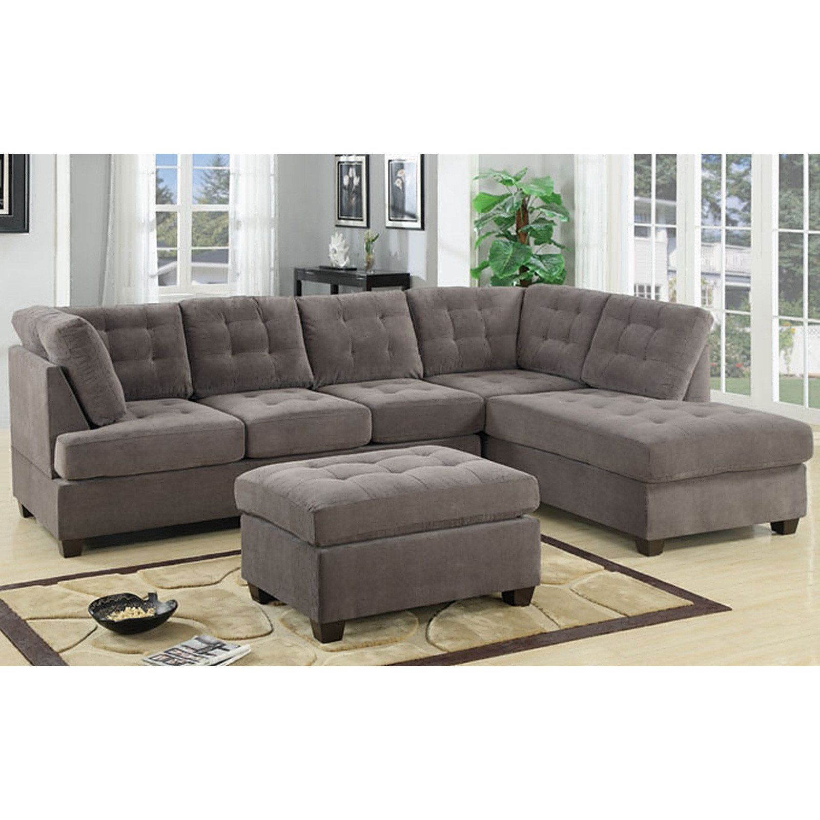 Madison 3 Piece Modern Tufted Grey Microfiber Sectional Sofa