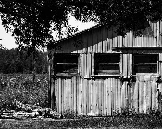 8x10 Black and White Print Side View Of A Barn In by PelliculArt