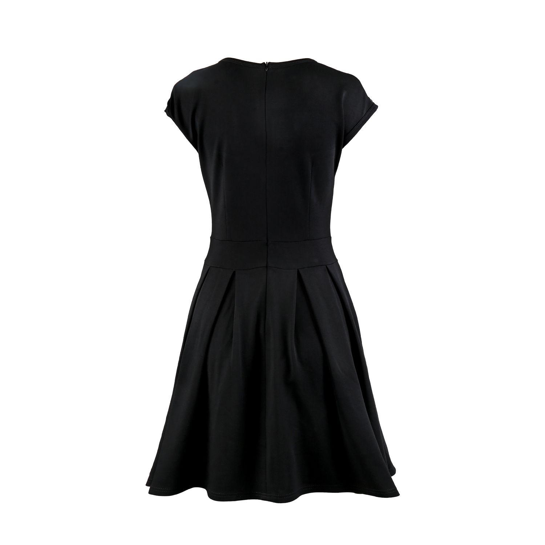 sunnow® black high waist black knee length dress an elastic