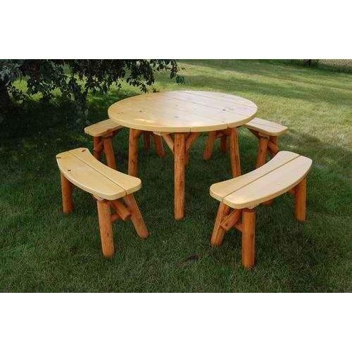 """Moon Valley Rustic Cedar 46"""" Round Table Set (4 Benches ..."""