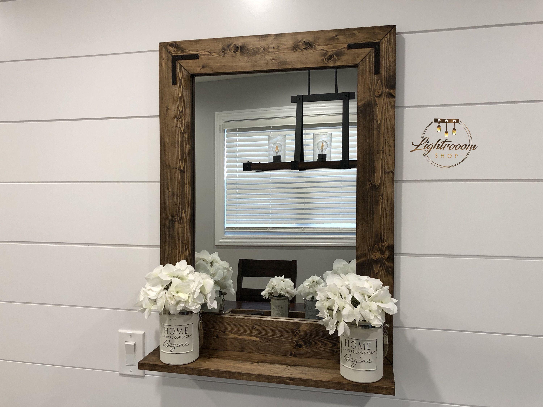 """Mirror with 5"""" Deep Shelf, Bathroom Mirror, Entryway"""