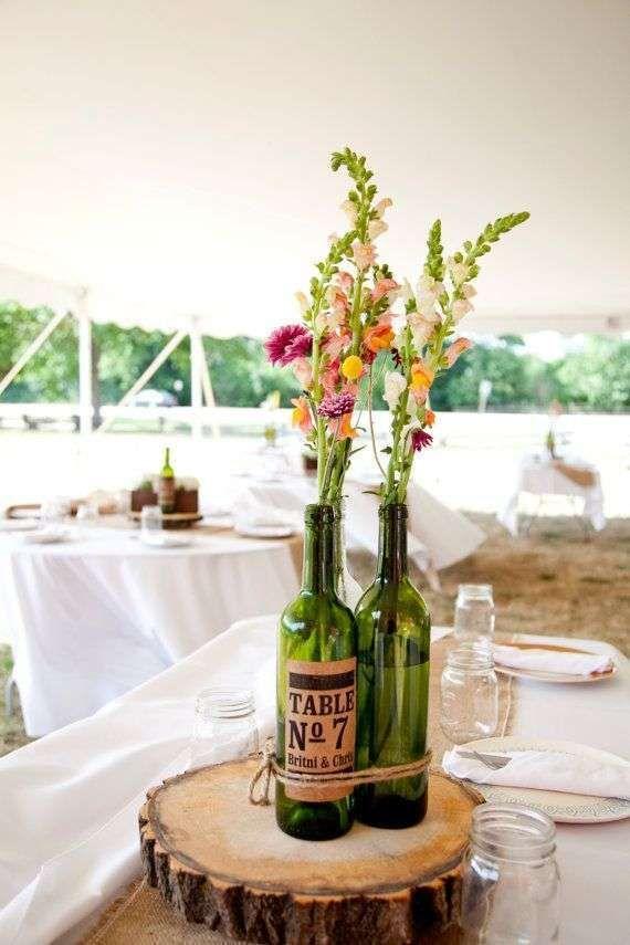 Centros de mesa para bodas con botellas fotos ideas - Centros de