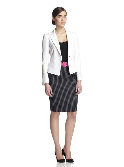 TAHARI ASL Belted Stripe Skirt Suit