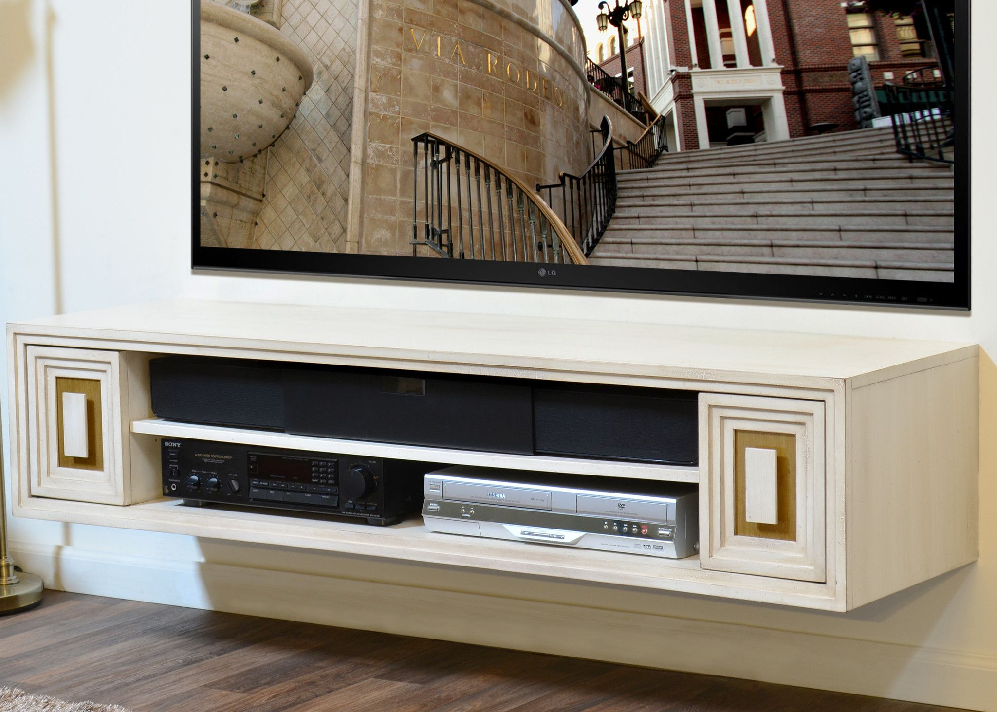 Shabby Chic Hollywood Tv Stand Le Cream White And Antique Gold