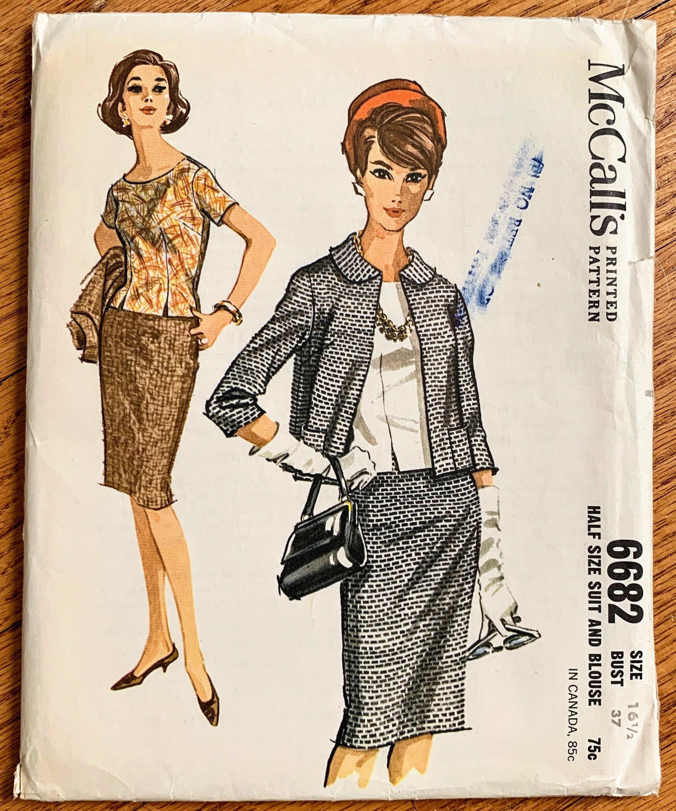 Vintage 1960s Sewing Pattern, b37 Womens Skirt Suit and Blouse, McCalls 6682 UNCUT