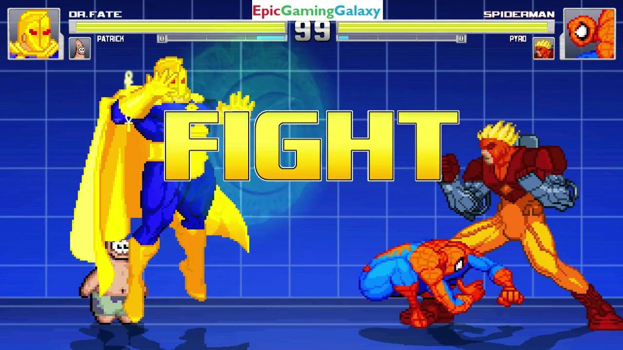 spider man and pyro vs doctor fate and patrick star in a mugen