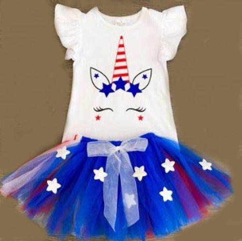 3eeb751c3e9ac Patriotic Unicorn 4th of July Tutu Outfit girls size 4 5 6 7 8 9 pip sip  #Unbranded #4thofJulyDressyEverydayHoliday