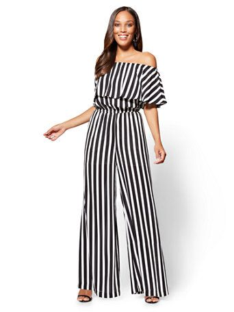 7903d9267cc4 Shop Off-The-Shoulder Jumpsuit - Stripe. Find your perfect size online at  the best price at New York   Company.Bold black-and-white stripes add a  chic