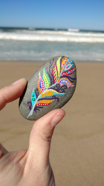 Painted Stone, Mandala Stone, Mandala Rock, Zen Feather, Zendoodle, Sea Stone, Meditation Stone, Pet Rock by PaintedDandelion on Etsy