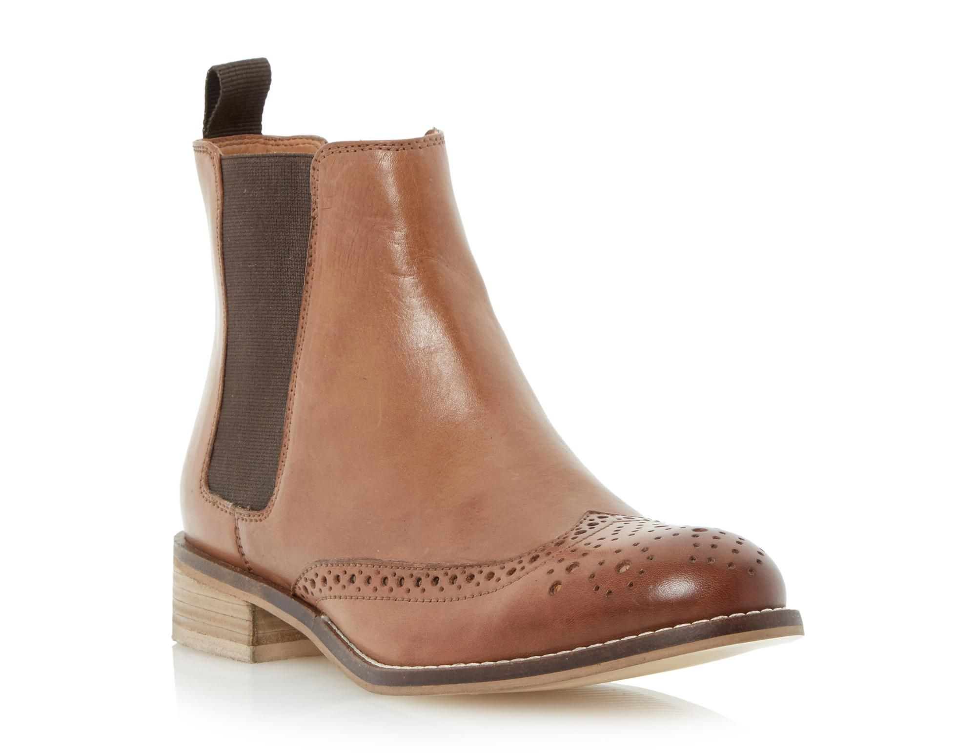 Dune London Women's Quentin Chelsea Boot Tan Leather Size 40 M, Brown