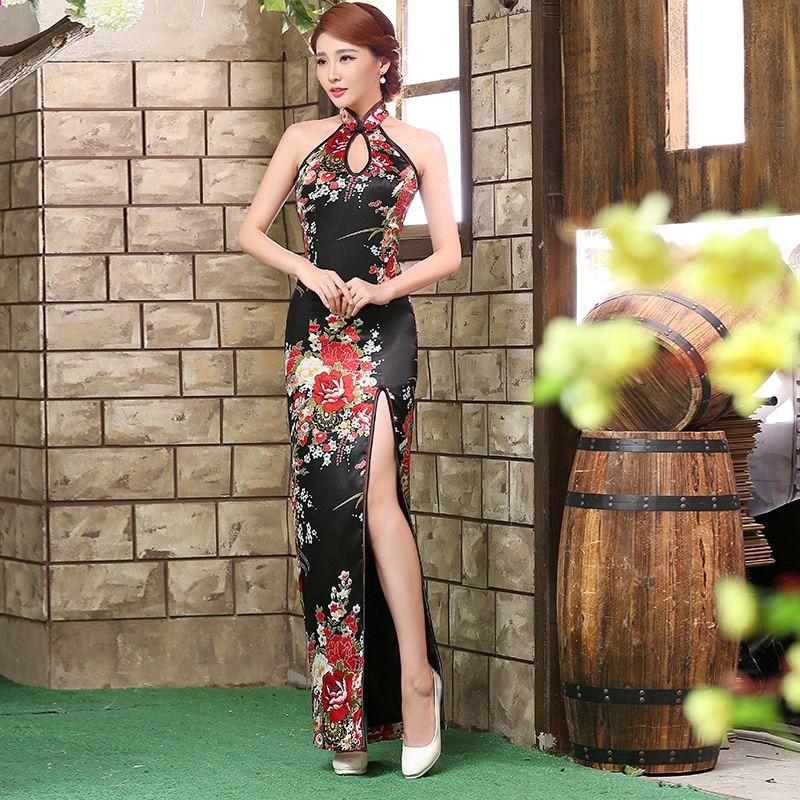 Abiti Da Sera Cinesi.Abiti Cinesi Tradizionali Vendita Backless Cheongsam Dress Nero
