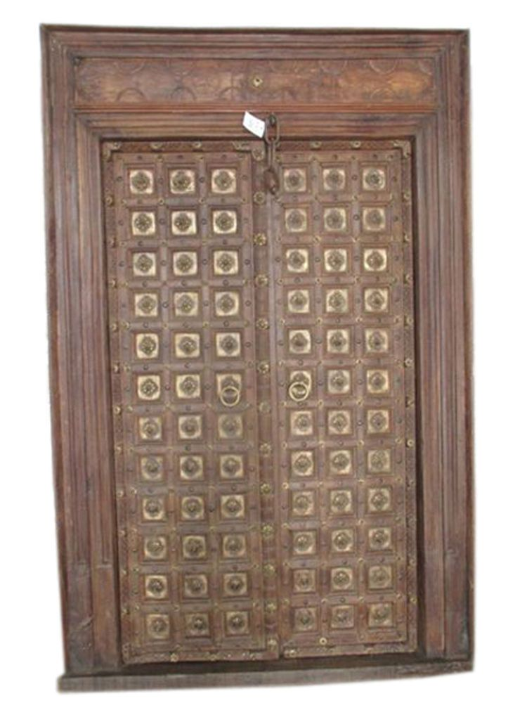 Antique Indian Door Wood Iron Knobs Hand Carved Teak Double Haveli Door &  Frame - Antique Indian Door Wood Iron Knobs Hand Carved Teak Double Haveli