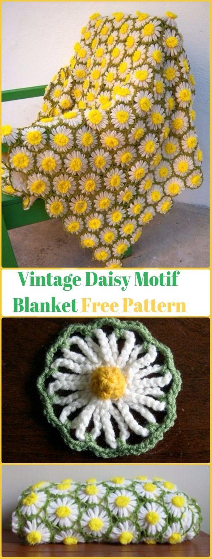 Crochet Vintage Daisy Motif Blanket Free Pattern with Video ...