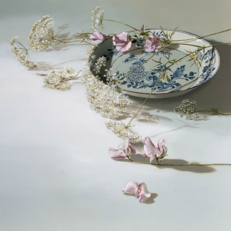 See acrylic painter Sasja Wagenaar's exquisitely detailed still lifes such as 'Chinoiserie with Blossom on Light' with DeKunst Salon. #AAFBattersea 100 x 100cm, £4,000.