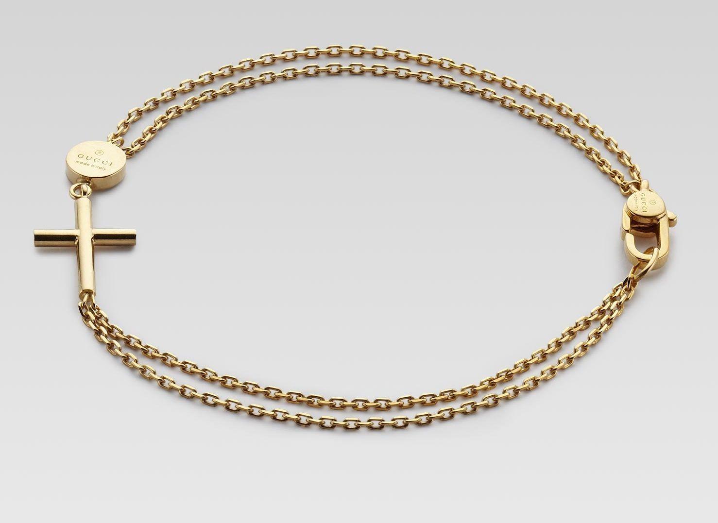 Gucci menus gold bracelet with cross pendant gold jewellery