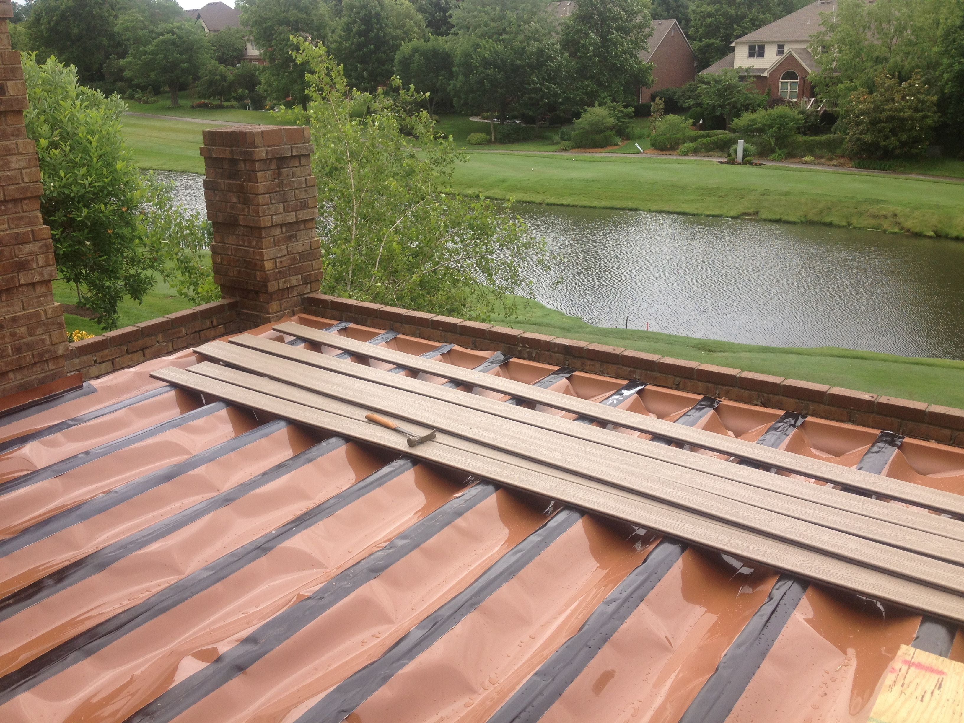 Here Is The Trex Rain Escapes System Installed Right Before The Decking.  This Deck Had
