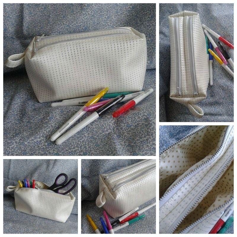 Trousse zip-Zip cousue par Isabelle - simili blanc - Patron Sacôtin