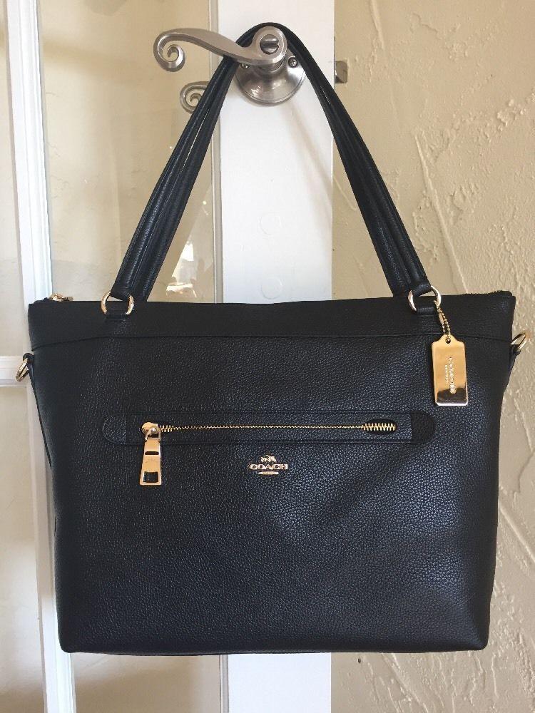 Coach F54687 Pebble Leather Tyler Tote Black Convertible Crossbody Shoulder Bag Ebay