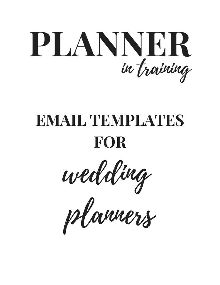 Email Templates for Wedding Planners (Venues and wedding