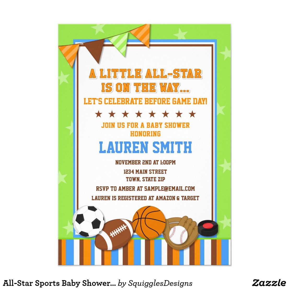 All Star Sports Baby Shower Invitation Card Zazzle Com Baby