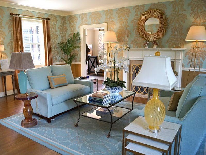 Living Room : Blue And Gold Wallpaper For Walls Living Room ~ HeimDecor