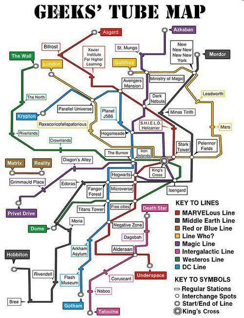 Geeks Tube Map Geek Stuff Map Fandoms