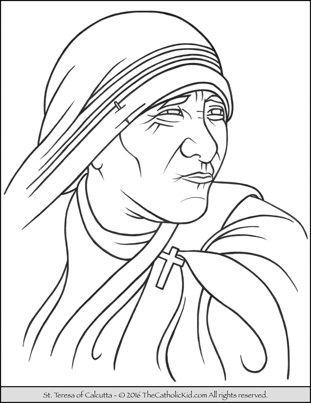 Saint Teresa of Calcutta Coloring Page TheCatholicKid