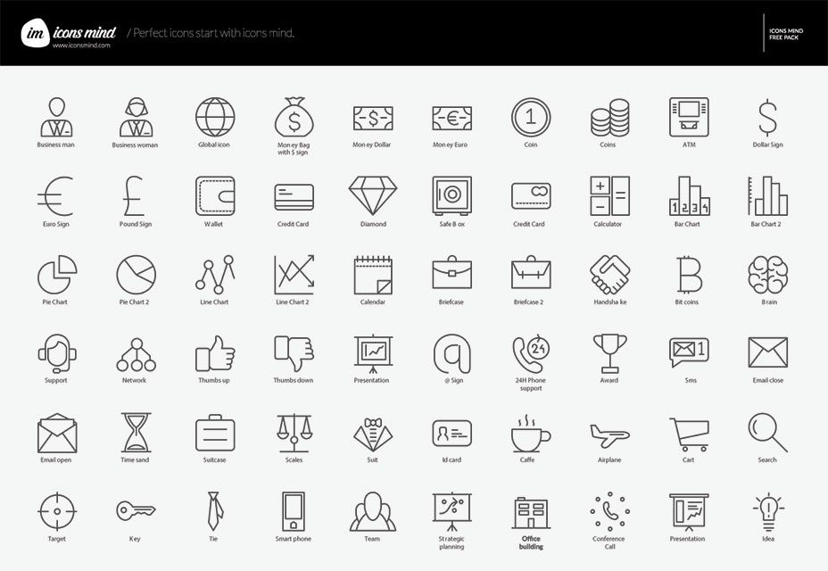Free Download 60 Business Icons By Icons Mind Business Icon Design Freebie Icon