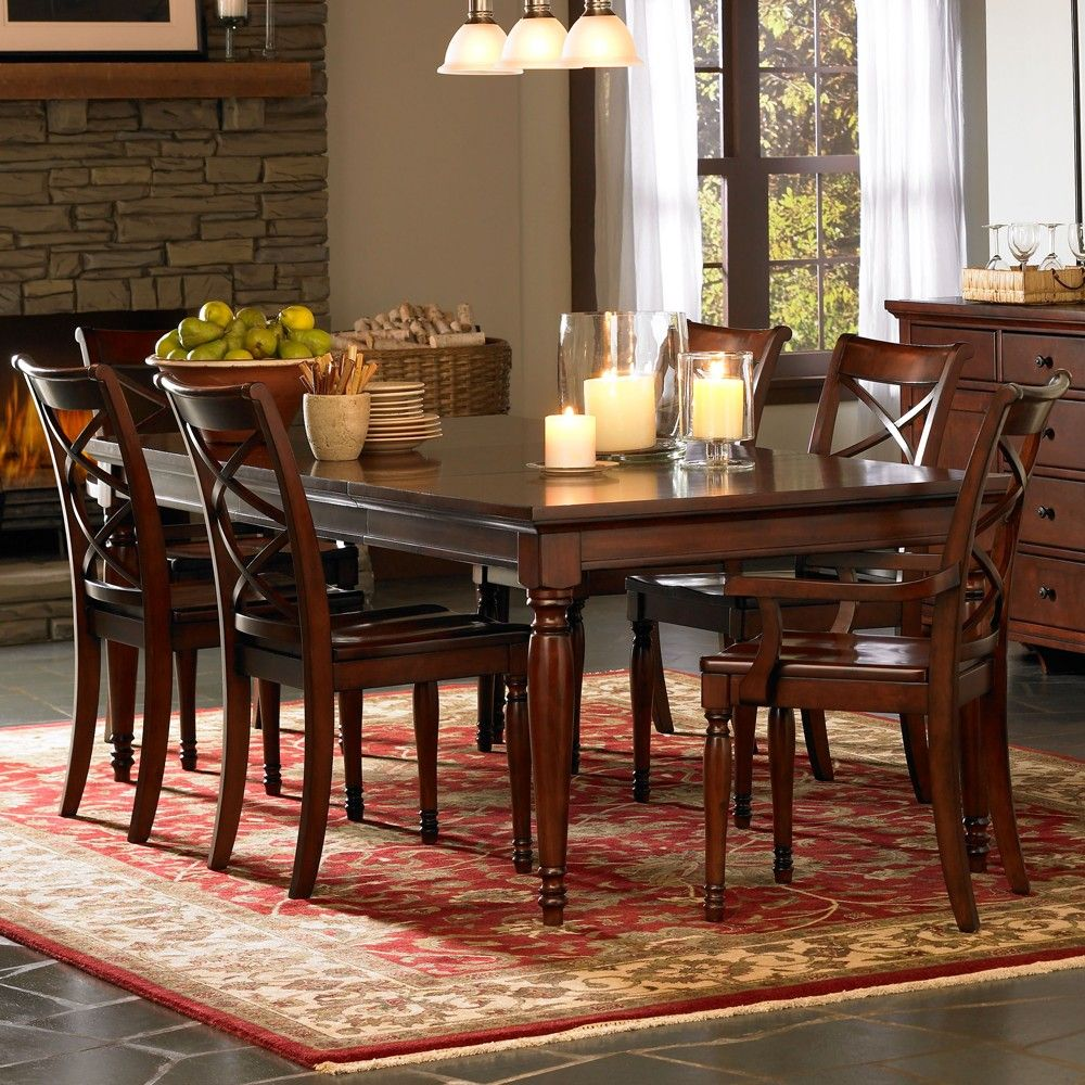 Cambridge Wood Rectangle Dining Table In Brown Cherry