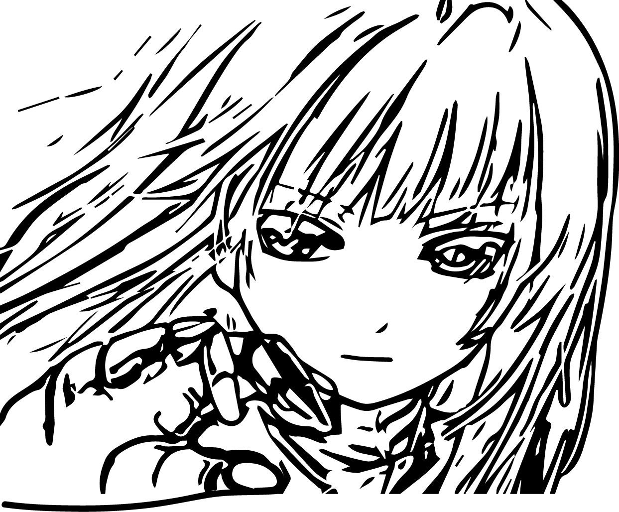 Cool Anime Girl Face And Hand Coloring Page