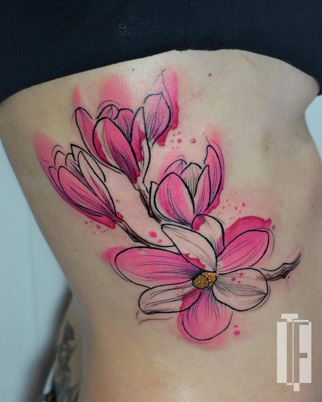 Watercolor Floral Abstract Tattoo Floral Tattoo Watercolor Tattoo
