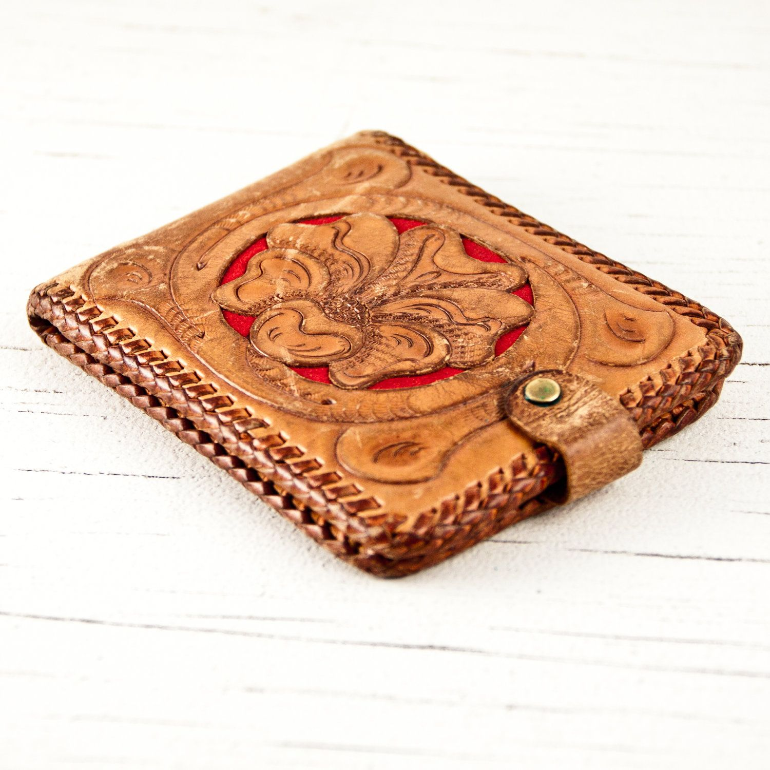 Vintage Wallet Hand Tooled Leather. $40.00, via Etsy.