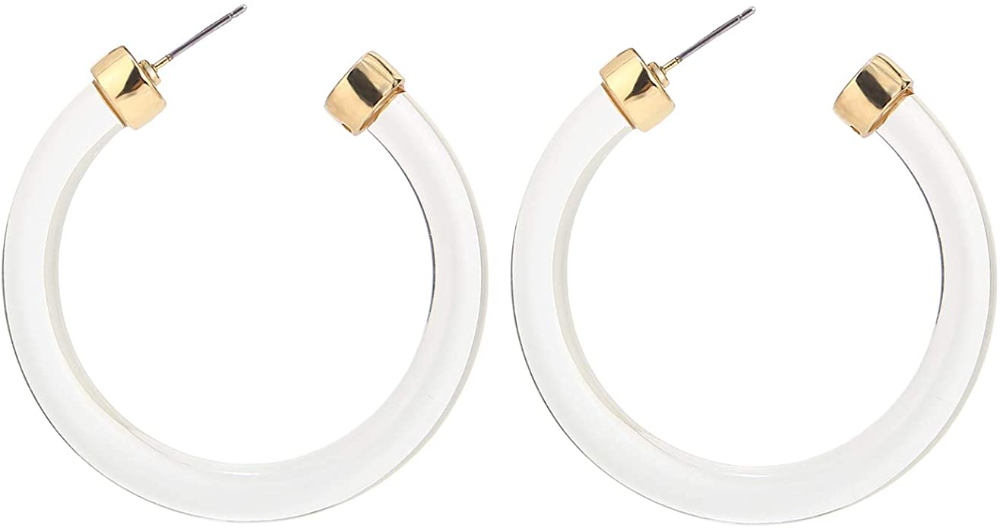 Amazon Com Legitta Leia Resin Hoop Earrings Transparent White Acrylic Round Circle Dangle Ear Drops Fashion Statement Drop Earrings Earrings Statement Jewelry