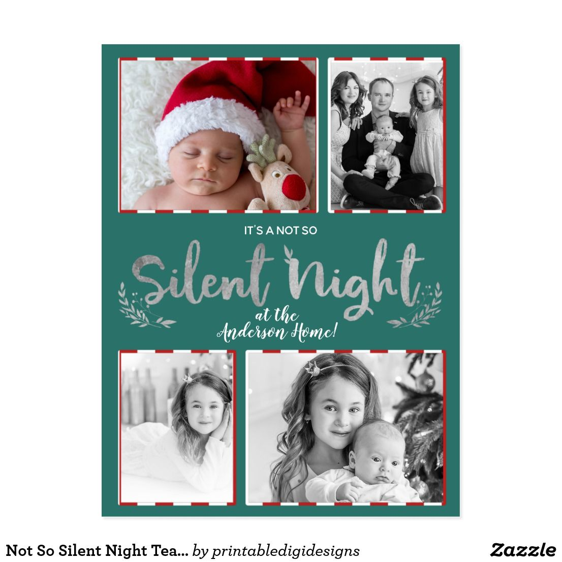 Not So Silent Night Teal Silver 4 Photo Holiday Postcard Christmas Cards Silent Night Holiday Card Diy