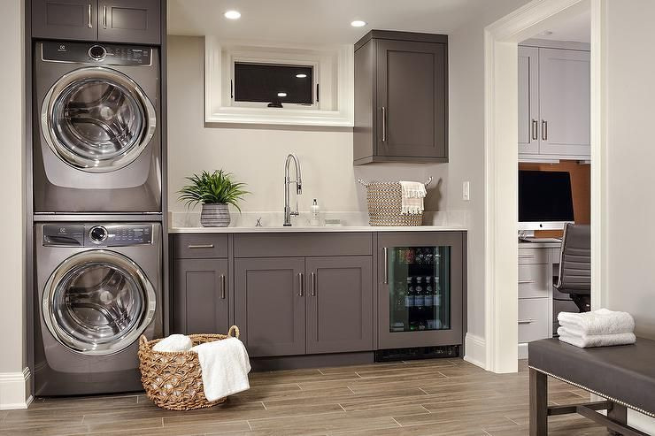 Gray Brown Shaker Laundry Room Cabinets