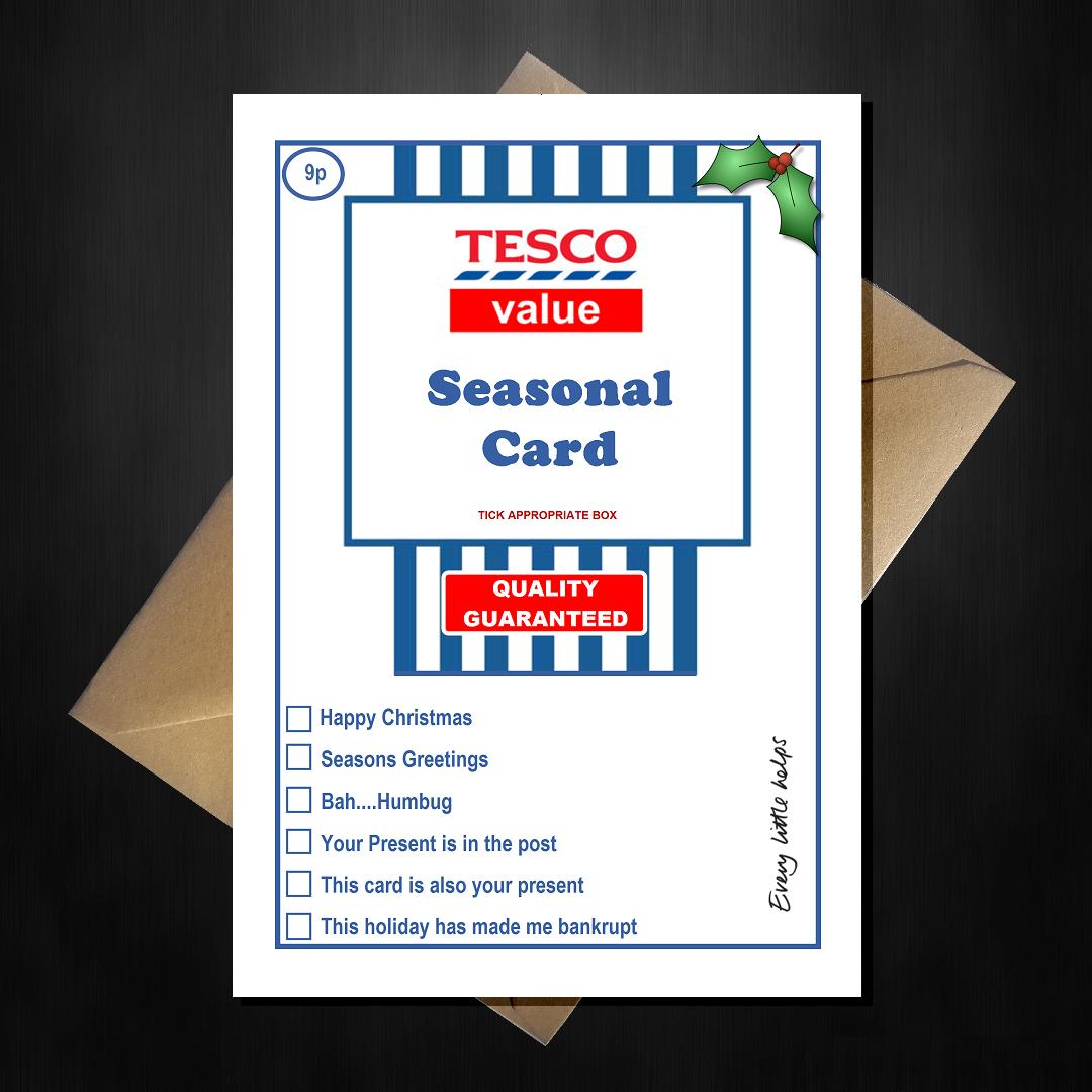 Funny Tesco Value Christmas Card - Supermarket Spoof Xmas | Funny ...