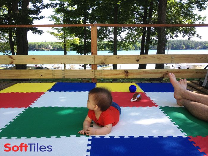 Play Area On The Deck Softtiles Mats For Kids Used An Outdoor Wooden