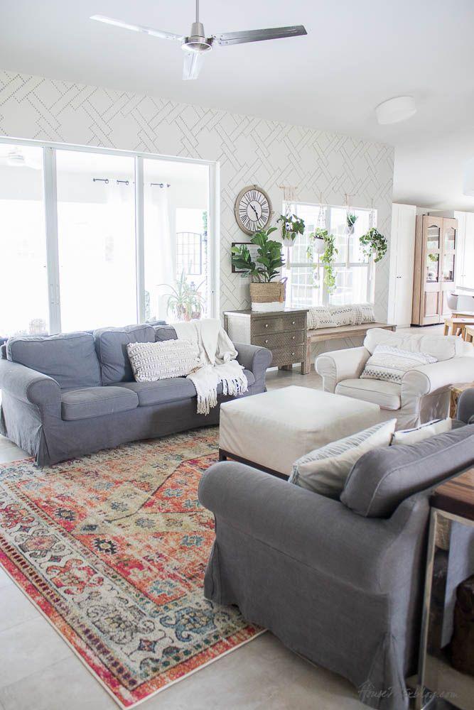 Tree Design Wallpaper Living Room: Living Room Stencil Instead Of Wallpaper