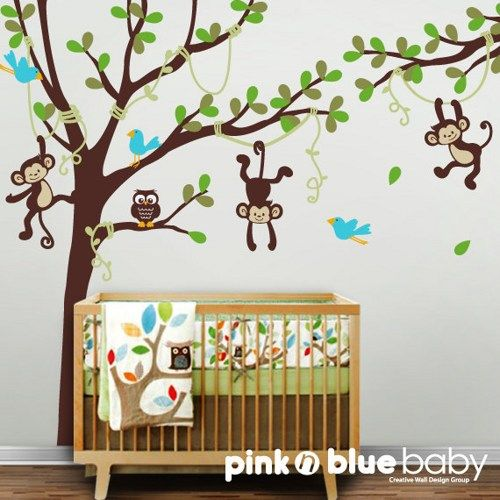 Tall Tree, Vines, Monkeys, Owl And Birds   Vinyl Wall Decals