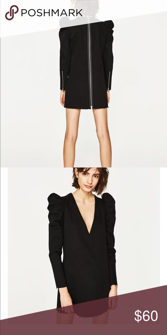 a3b6c270ccbb Zara denim dress with full shoulders Zara v-neck black denim dress with  full shoulders and raw cut cuffs, raw frayed hem, back zipper, size XS Zara  Dresses ...
