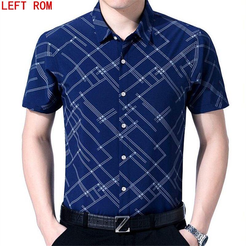 2017 Summer New Fashion Brand Clothing Short Sleeve Shirt Men Plaid Shirt  Slim Fit 100% Cotton Casual Social Shirt Men 559b61614093