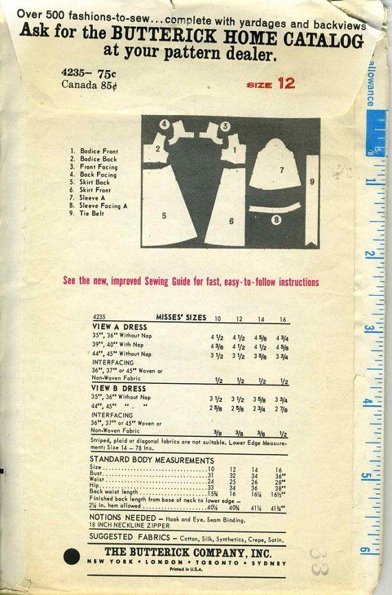 Vintage 60s Butterick 4235 CUT Misses Empire Waist Tent Dress Sewing ... f9c793ed0e69