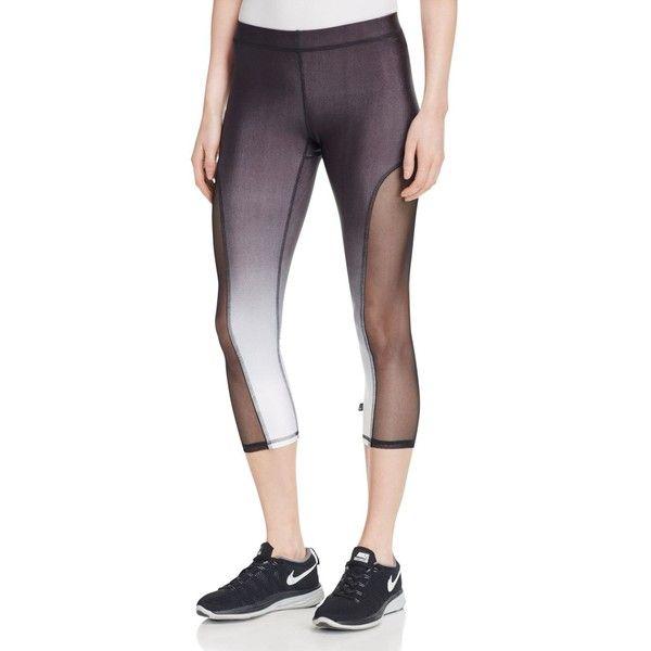 Terez Ombre Capri Leggings ($85) ❤ liked on Polyvore featuring pants, leggings, print capri leggings, white capri leggings, terez, print pants and patterned leggings