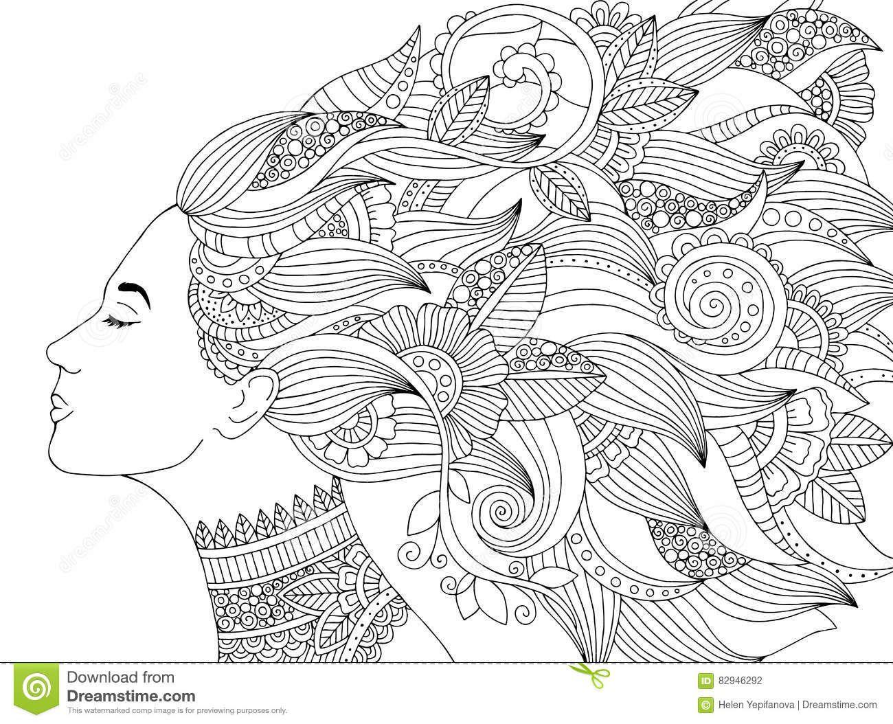 Vector A Mulher Tirada Mao Da Ilustracao Com Cabelo Floral Para O