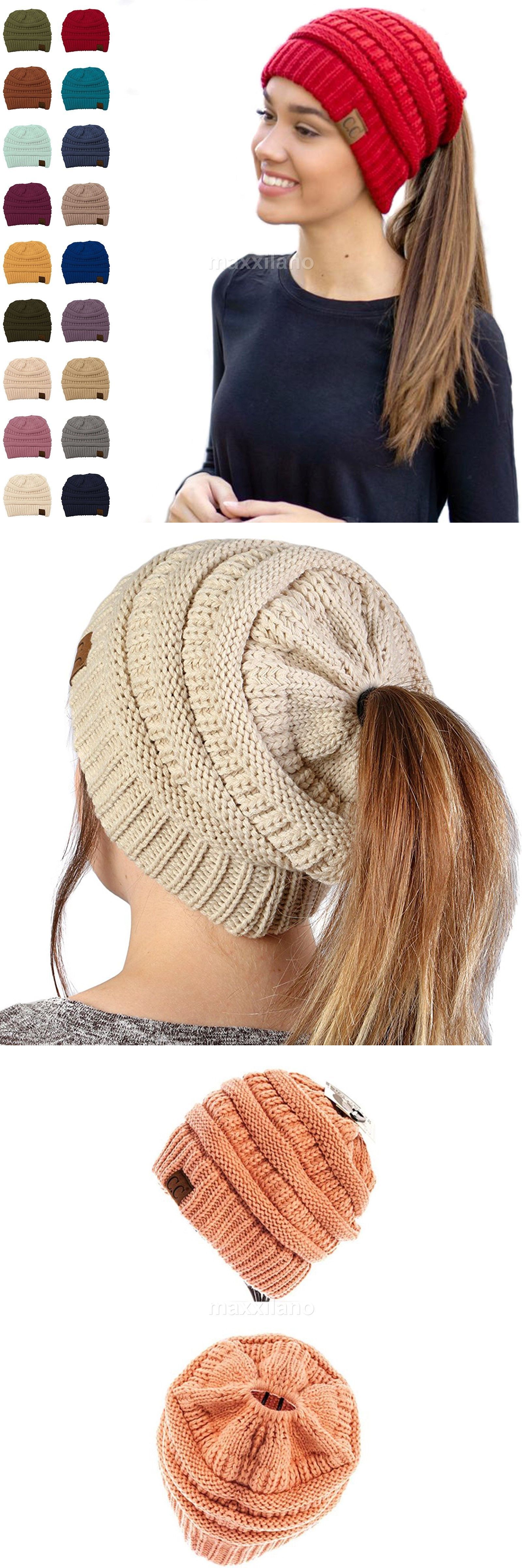 e8647ef4 Clothing, Shoes & Accessories CC Beanie Tail Messy High Bun Ponytail Hat  Knit Beanie Cap Hole Women's Accessories
