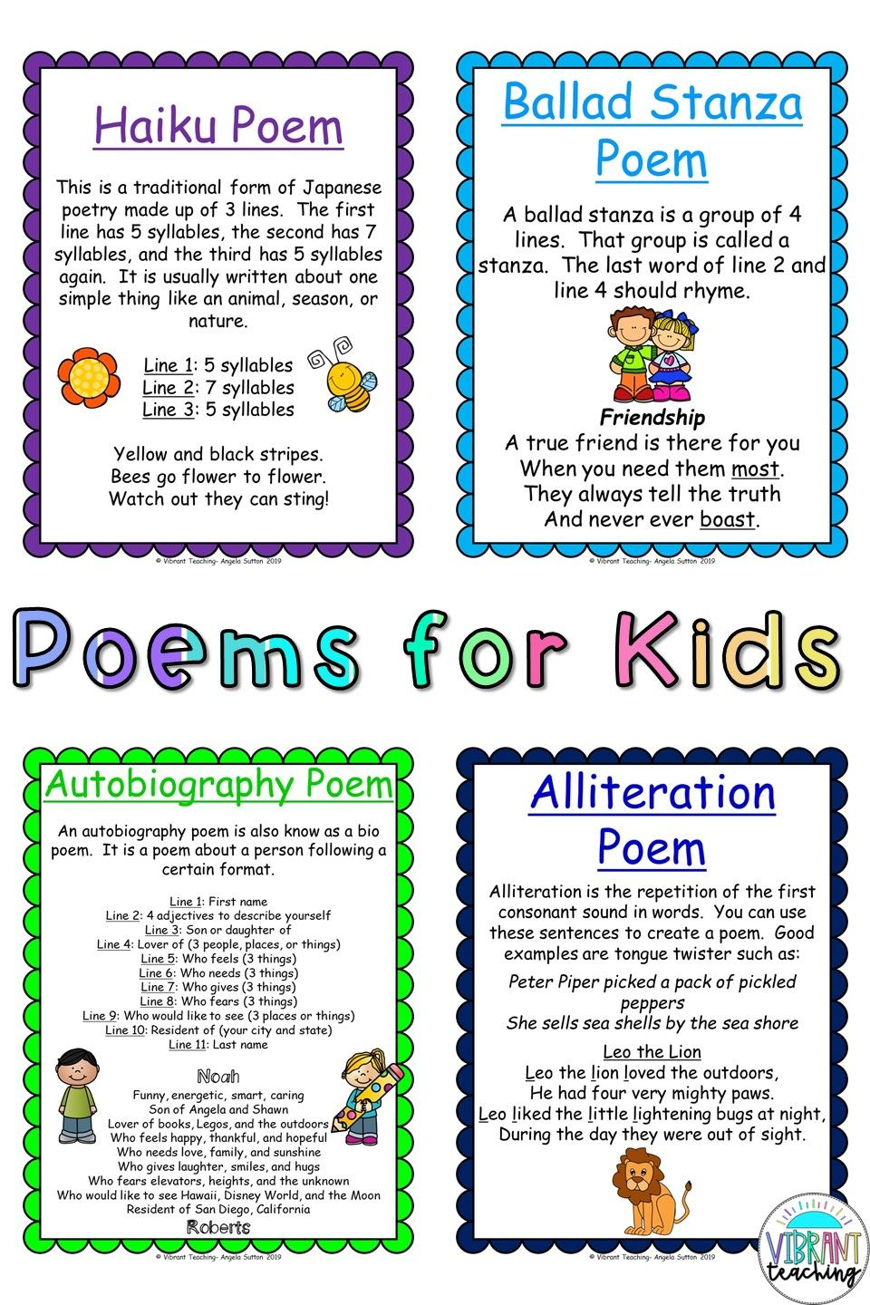 Poems For Kids In 2020 Writing Poetry Writing Units Poetry Writing Activities