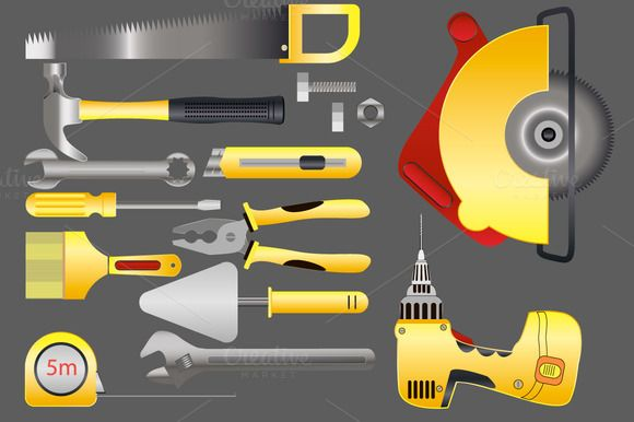 Set Tools for home repair. by pashigorov shop on Creative Market